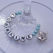 Tea Pot & Cup Personalised Wine Glass Charm